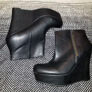 Faux Leather Platform Wedged Booties
